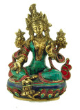 Green Tara Buddha Statue with Turquoise and Coral