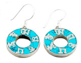Om Mani Padme Hum Earrings, Circle Shape with Turquoise Inlay, Sterling Silver