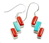 Turquoise and Coral Earrings, Sterling Silver