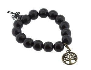 Dark Wood Wrist Mala with Brass Tree of Life Charm