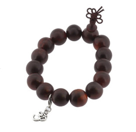 Red Wood Wrist Mala with Om Symbol Charm