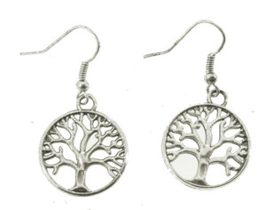 Tree of Life Earrings, Plated Silver