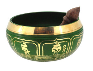 Green 6.5 Inch Singing Bowl with Om Mani Padme Hum Mantra