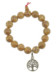 Phoenix Eye Bodhi Seed Wrist Mala with Brass Tree of Life Charm