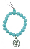 Turquoise Wrist Mala with Brass Tree of Life Charm