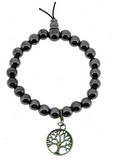 Hematite Wrist Mala with Brass Tree of Life Pendant