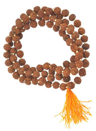 Rudraksha Seed Mala, Knotted Between Each Bead, Yellow