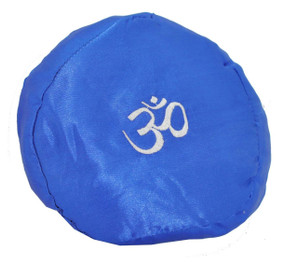 Large Tibetan Singing Bowl Cushion with Om Symbol, Blue