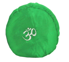 Large Tibetan Singing Bowl Cushion with Om Symbol, Green