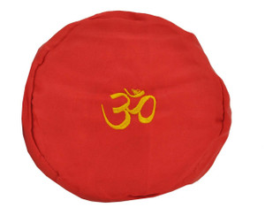 Large Tibetan Singing Bowl Cushion with Om Symbol, Red