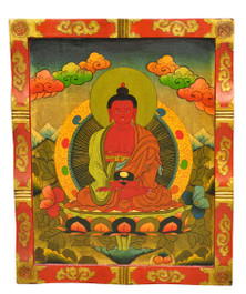 Amitabha Wood Thangka Painting Board, Masterpiece-Level
