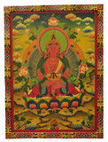 Large Amitayus Wooden Thangka Painting, Hand-Painted Buddha Painting