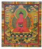 Amitabha Buddha Tibetan Hand Painted Masterpiece Wooden Thangka Painting
