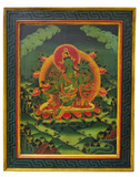 Tibetan Hand Painted Masterpiece Green Tara Wooden Thangka Painting