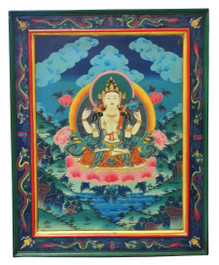Chenrezig Wooden Thangka Painting, Hand-Painted in Nepal, Master-Level