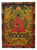 Large Tibetan Hand Painted Masterpiece Amitabha Wooden Thangka Painting
