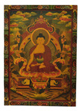 Hand-Painted Masterpiece Shakyamuni Wooden Thangka Painting
