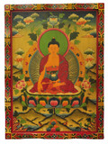 Tibetan Hand Painted Masterpiece Shakyamuni Wooden Thangka Painting