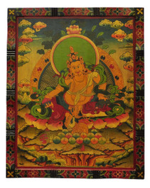Masterpiece Yellow Dzambhala, Zambala, Jambhala Wooden Thangka Painting