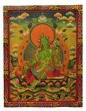 Hand Painted Masterpiece Green Tara Wooden Thangka Painting, Tibetan Buddhist Art