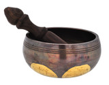 Copper and Brass Singing Bowl with Eight Auspicious Signs, 4.25""