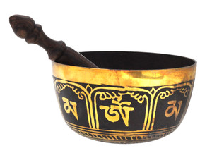 Black and Gold Singing Bowl, 6 Inches