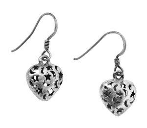Heart Earrings, Sterling Silver
