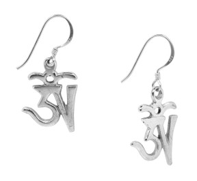 Tibetan Om Symbol Earrings, Sterling Silver