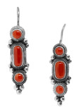 Coral Earrings, Sterling Silver