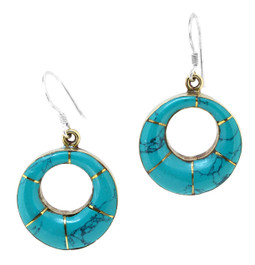 Turquoise Circle Earrings, Sterling Silver