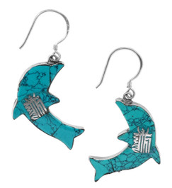 Dolphin Earrings, Sterling Silver and Turquoise with the Kalachakra Mantra Symbol