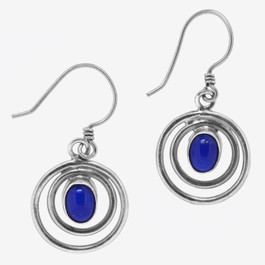 Lapis Lazuli Circle Sterling Silver Earrings