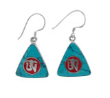 Triangle Turquoise and Coral Om Symbol Earrings