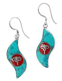 Buddha Eyes Earrings, Sterling Silver with Coral and Turquoise