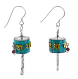 Prayer Wheel Earrings, Turquoise