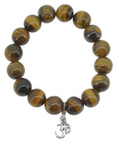 Tiger Eye Wrist Mala, 10 mm, with Om Charm