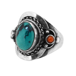 Turquoise and Coral Ring, Sterling Silver