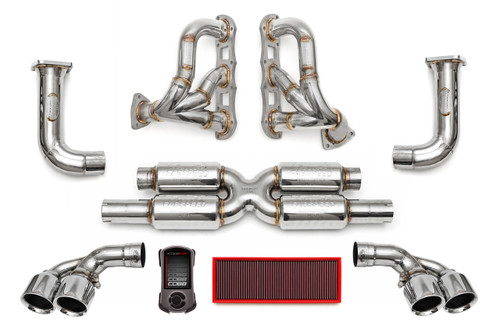 Fabspeed's Supersport Performance Package includes Fabspeed's Supersport X-Pipe, Cat Bypass Pipes, Deluxe Tips, Sport Headers, and optional Cobb Accessport Tuner.