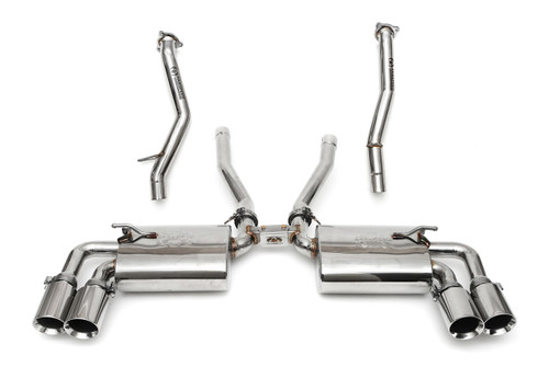 Complete high-performance exhaust & intake solution for the 958 Cayenne S / GTS; includes Maxflo Mufflers with Deluxe Quad Style Tips, Secondary Catbypass Pipes, and a BMC F1 Replacement Air Filter.