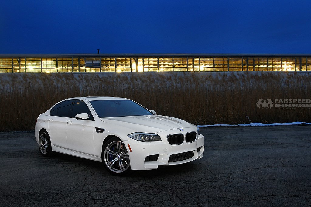 White BMW M5 Front Angle