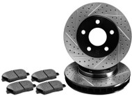 R1 Concepts Premier Drilled & Slotted Rotors + Pads BMW 128