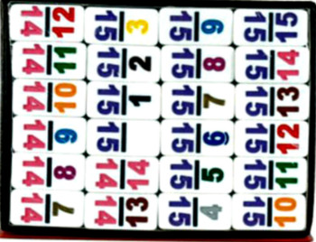 CHH Double 15 Numbered Domino Tiles (Tiles Only)