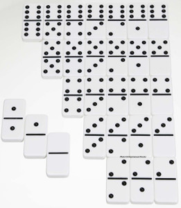Double 6 Jumbo Size Dominoes -White w/ Black Dots