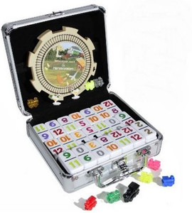Double 12 numbered dominoes aluminum case
