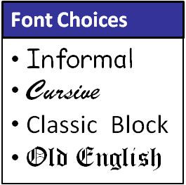 A variety of fonts are available