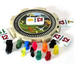 Interactive domino hub with trains