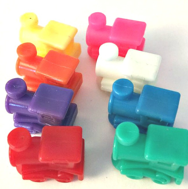 Train Marker Accessory Activity Assorted Color Dominoes Set of 10
