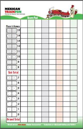 double 15 dominoes mexican train scorepad
