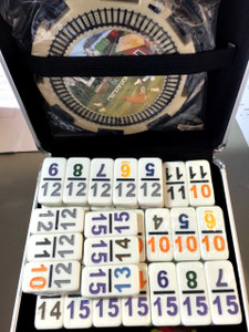 Double 15 Numbers Dominoes in Aluminum Case - Great for Seniors