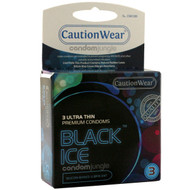 A front side image of a box of the Caution Wear Black Ice Ultra Thin Condoms.